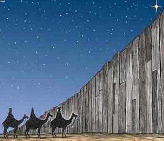 Los Magos no pueden llegar a Belén ya que se lo impide el muro.